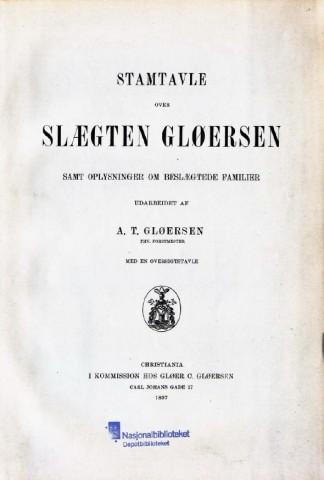 Stamtavle slekten Gløersen
