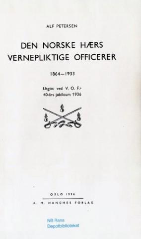 Den norske hærs vernepliktige officerer : 1864-1933